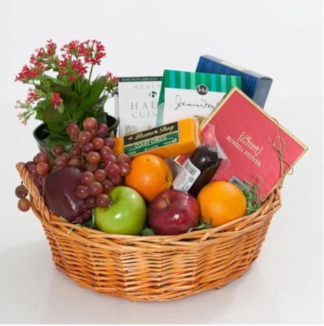 Plants and food gift basket